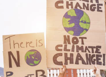 environmental activists with posters